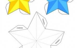 Новогодние звезды своими руками из фольги. новогодняя объемная звезда. Схема надреза на одной звезде