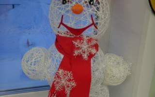 Снеговик из ниток и клея для новогоднего конкурса. Снеговик из ниток своими руками