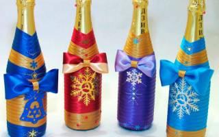 Как украсить шампанское своими руками на новый. Как сделать новогодние украшения на бутылку своими руками