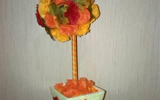 Декоративная салфетка из искусственных осенних листьев. Топиарий из салфеток: воплощения самых смелых идей Как сделать осенние листики из салфеток