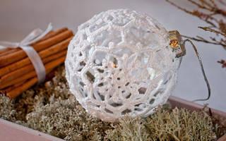 Белые шары на елку своими руками. Как сделать новогодние шарики на елку своими руками: обвязанные. Как сделать шар из веревки