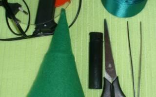 Как сделать новогоднюю елочку из атласных лент. Ёлка своими руками из лент в технике канзаши на Новый Год