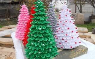 Новогодняя елочка из ленты с бусинами. Ёлка из атласных лент и бусинок своими руками