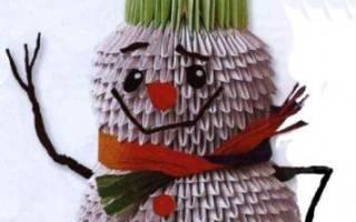 Модульный снеговик из бумаги своими руками. Делаем снеговика в технике оригами