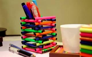 Как сделать стаканчик для ручек. Подставка для карандашей. Оригинальная детская поделка
