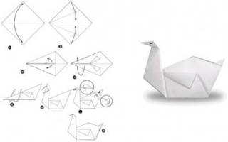 Как сделать маленькие модули бумаги. Большой белый лебедь. Из модульного оригами