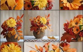 Интересные осенние букеты своими руками. Букет из листьев и ягод рябины — мастер-класс