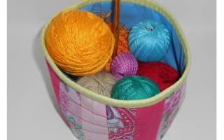 Круглая текстильная корзинка в технике пэчворк. Корзинки из ткани своими руками