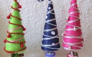 Самые красивые елки из сизаля. Новогодний топиарий из сизаля, шишек и ёлочных шаров своими руками