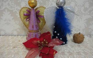 Рождественская игрушка своими руками ангел. Ангелочки из ткани. Ангелочек — гармошка из бумаги