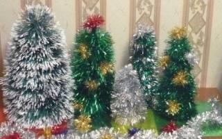 Елки на новый год из мишуры. Как сделать новогоднюю елку из бумаги, ватных дисков, шишек или мишуры: мастер-классы для садика и школы. Елка своими руками из мишуры