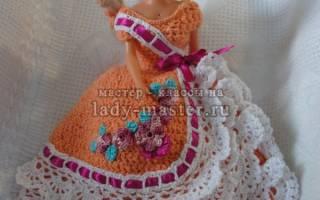 Вяжем одежду для барби крючком своими руками. Оранжевое платье для барби