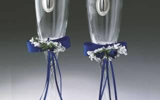 Бантики на бокалы. Как оформить свадебные бокалы своими руками