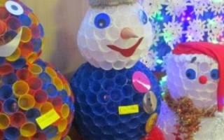 Как сделать дед мороз из стаканчиков одноразовых. Необычная новогодняя игрушка из пластиковых стаканчиков. Как сделать снеговика из пластиковых стаканчиков. Простая игрушка Дед Мороз своими руками из пластиковой бутылки — мастер-класс для взрослых и детей