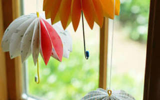 Как сделать бумажный зонтик от дождя. Осенний зонтик из бумаги (МК). Аппликация — осеннее панно «Зонтик»