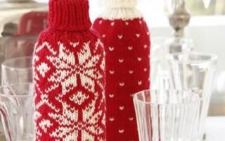 Чехол на бутылку своими руками: как сделать оригинальное украшение в разных техниках. Как сделать новогодние украшения на бутылку своими руками