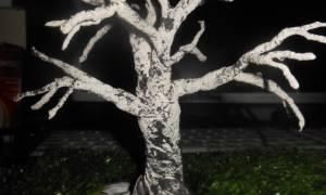 Как сделать дерево из бумаги поэтапно. Бонсай топиарий ёлка Мастер-класс Моделирование конструирование Макеты деревьев Клей Краска Поролон Проволока