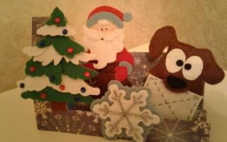 Новогодние открытки из фетра своими руками. Новогодняя открытка c елкой из фетра своими руками. Новогодняя открытка с елочными шарами